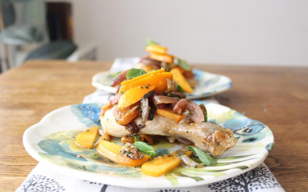 Roasted chicken in a persimmon mint wine sauce
