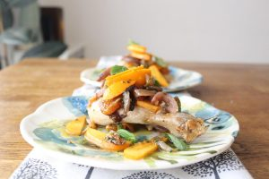 Roasted Persimmon mint chicken