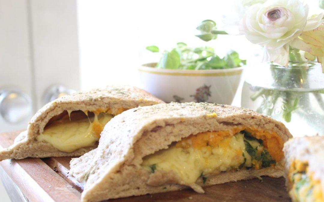Sweet potato cheese calzones and watercress salad