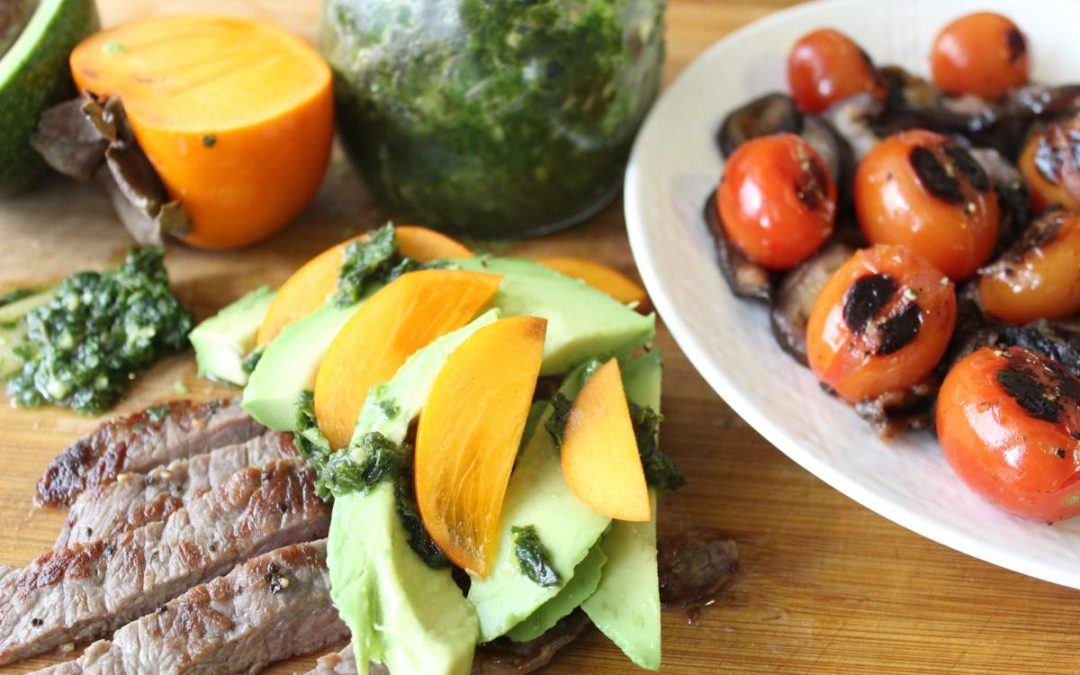Avocado steak strips and roasted eggplant salad