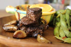 Grilled smoky steak tips
