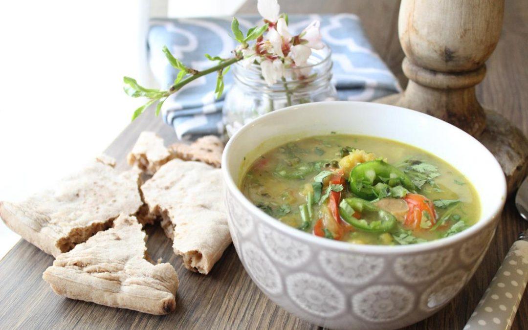 Cauliflower soup and whole wheat pitas