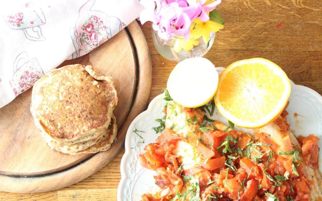 Tomato tilapia and savory pancakes
