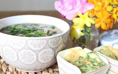 Miso soup and scallion egg cups