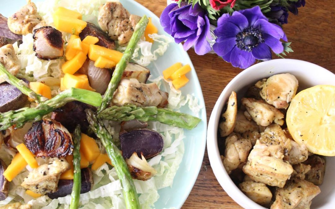 Purple potato chicken slaw