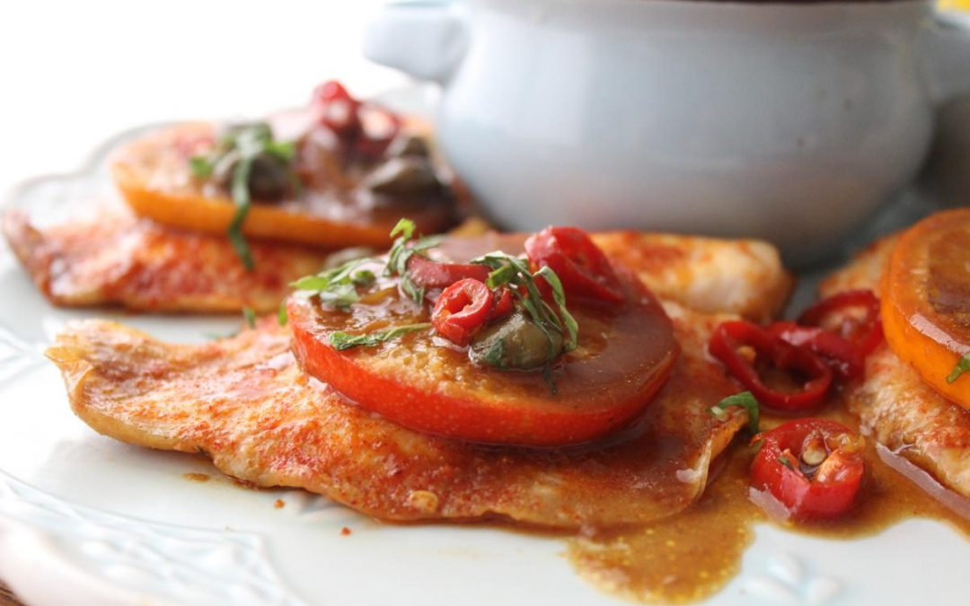 Tangerine miso red snapper fish