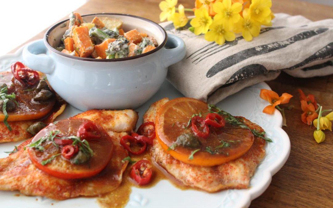 Miso fish and sweet potato salad