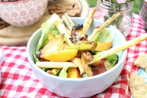 Nectarine and white asparagus salad