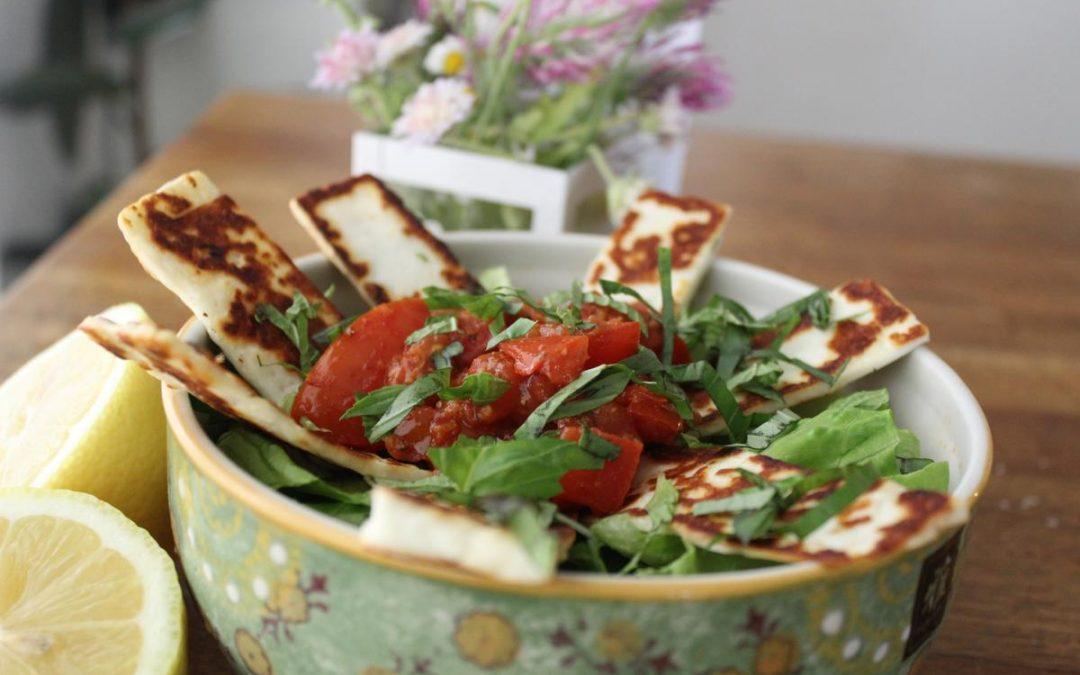 Charred tomato Halloumi salad