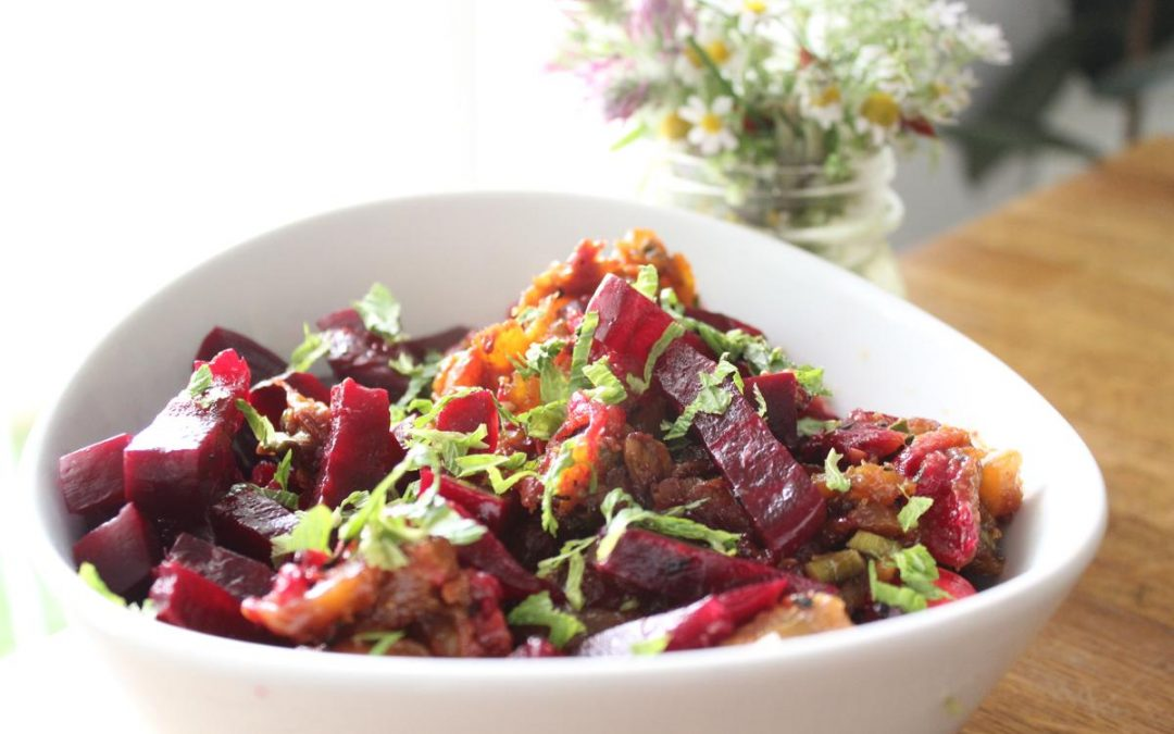 Chicken beet salad chutney