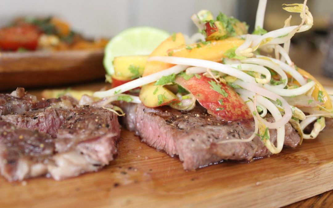 Steak with nectarine sprout salsa