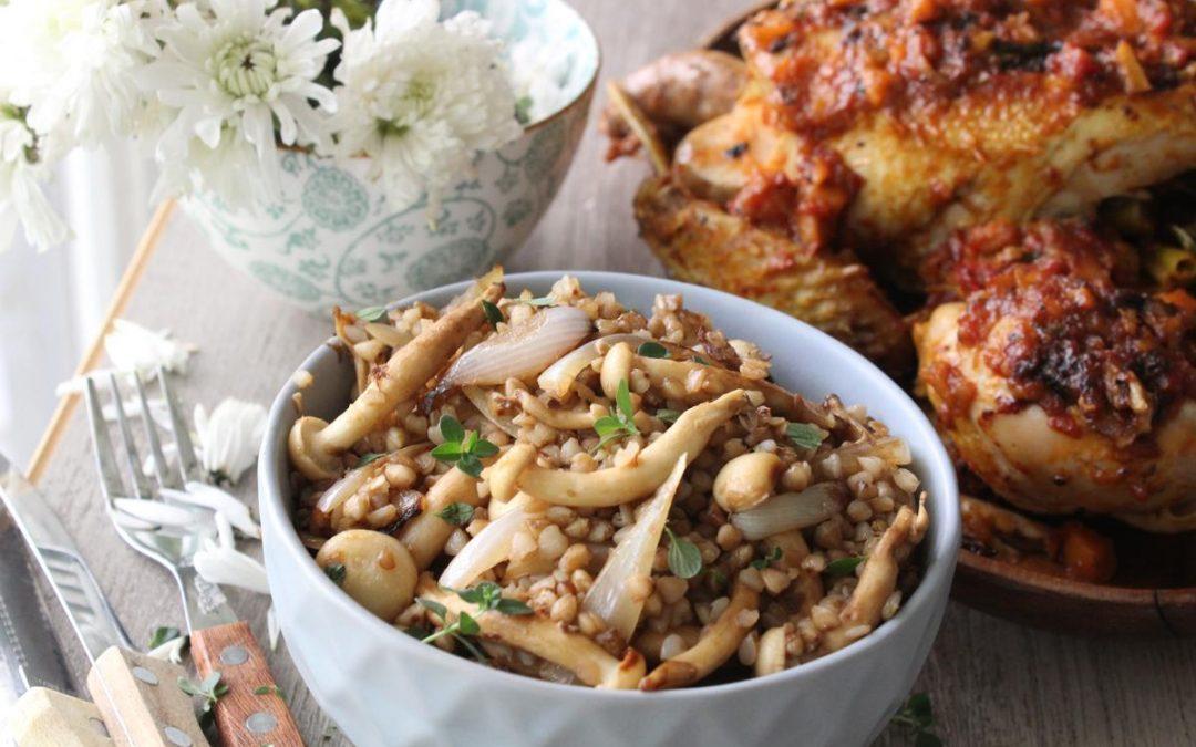 One pot chicken and kasha mushroom salad