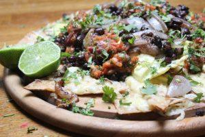 Mexican nachos and bean dip