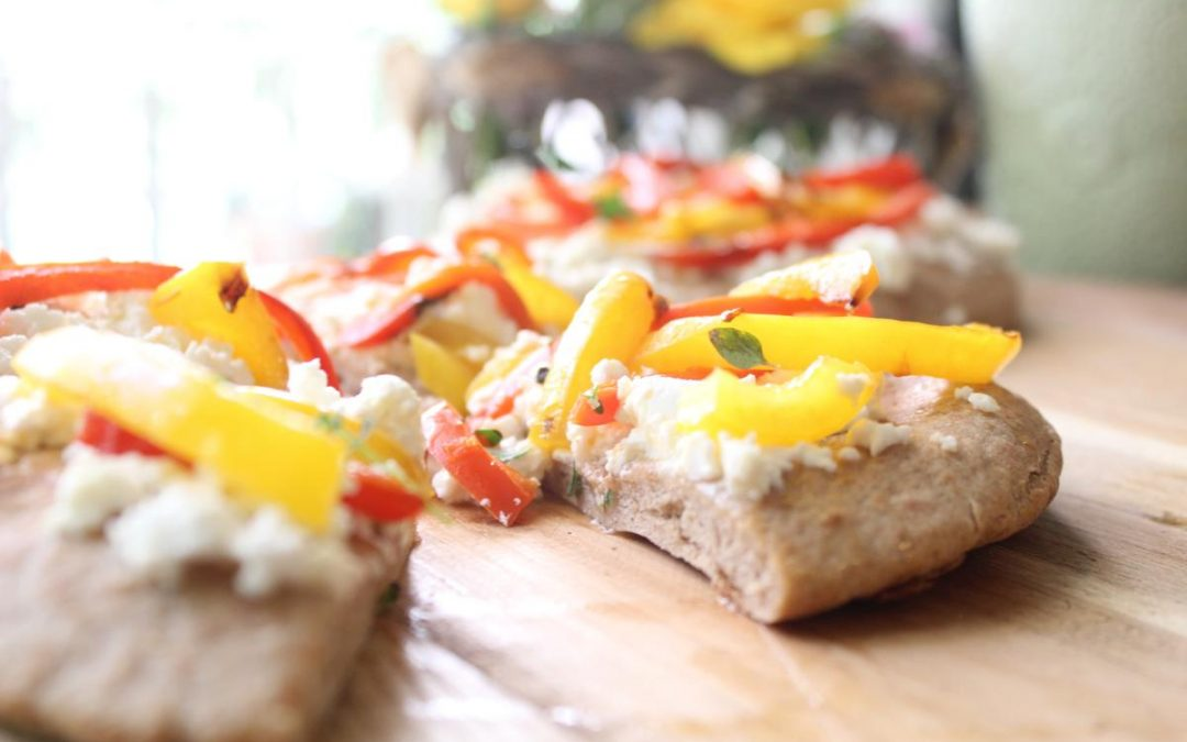 Focaccia and colorful carrot salad