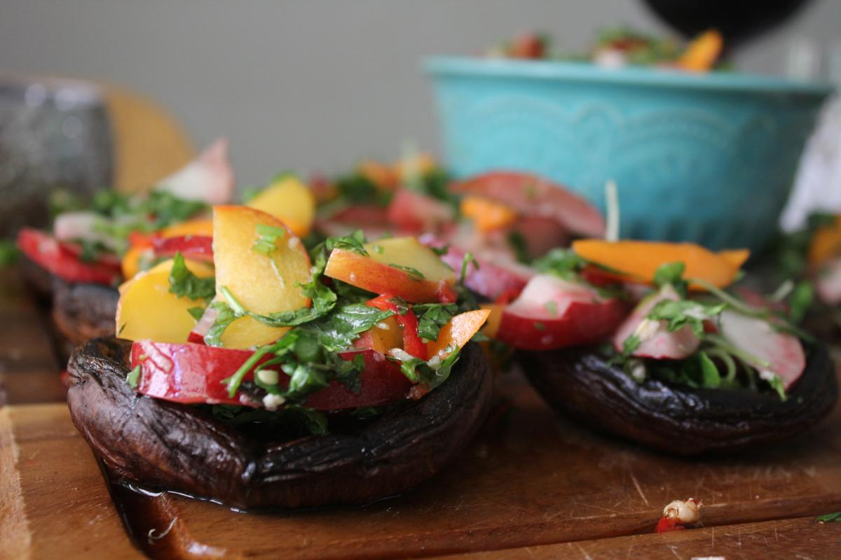 grilled-mushrooms-nectarines