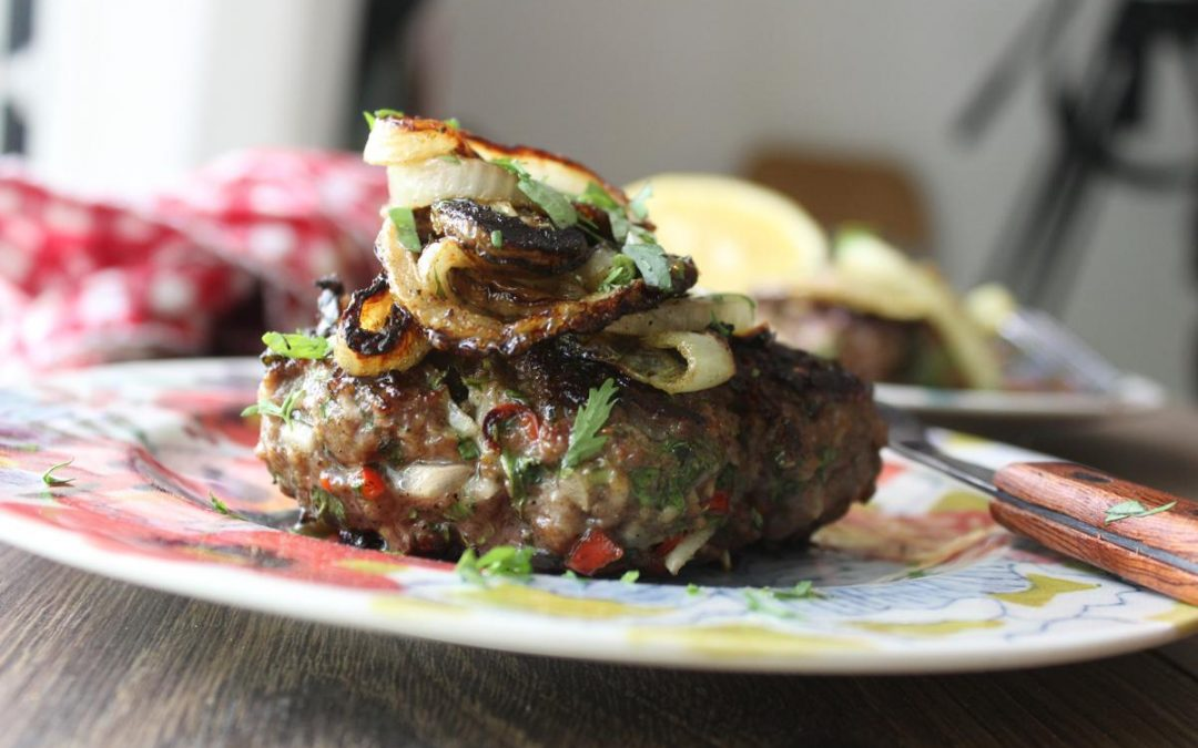 Moroccan burgers and potato leek wedges
