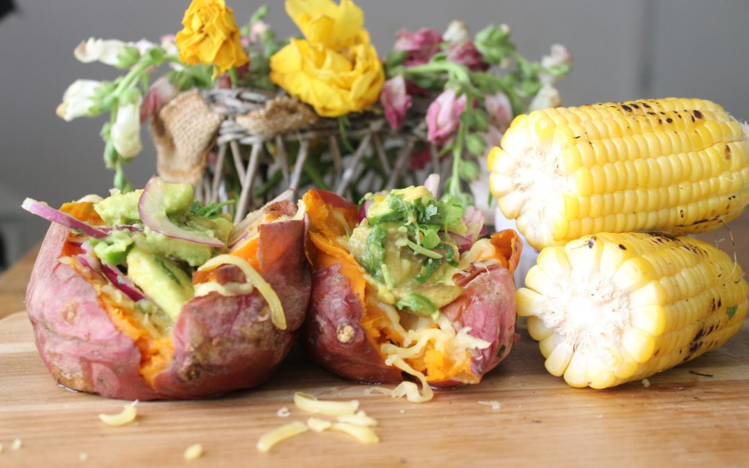 Mexican cheesy sweet potato bowls and fire grilled corn