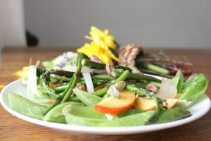 salad-asparagus-nectarines-peaches-grilled-onions