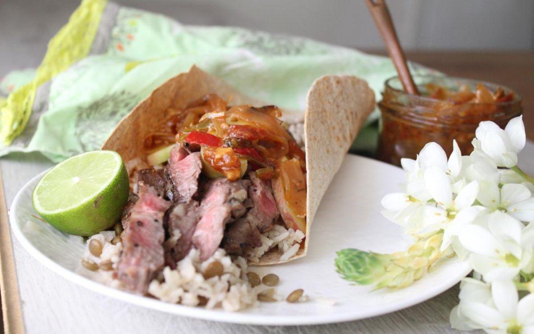 Steak tacos with lentil rice