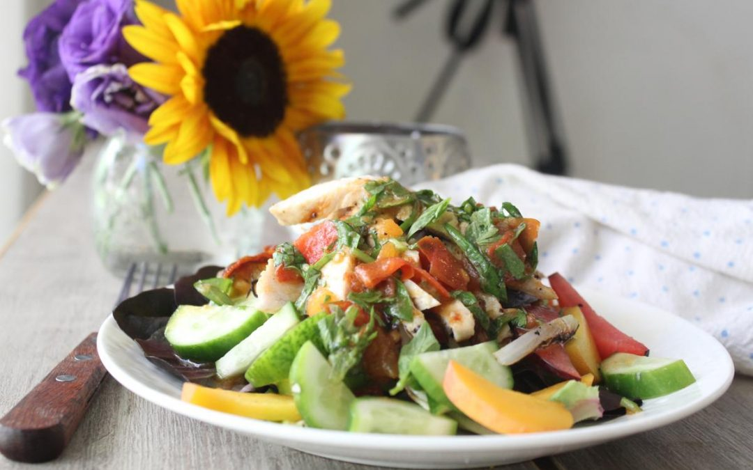 Summery grilled chicken salad