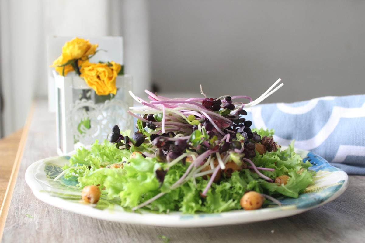 chickpea-frisee-purple-sprouts-salad