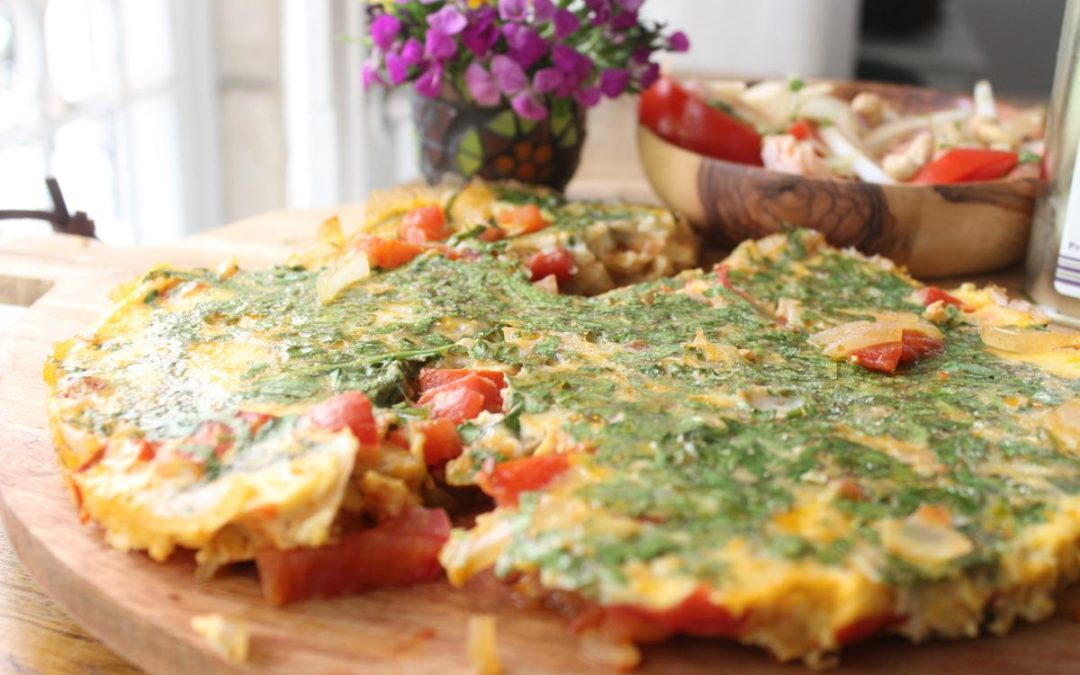 Salmon salad and spicy frittata