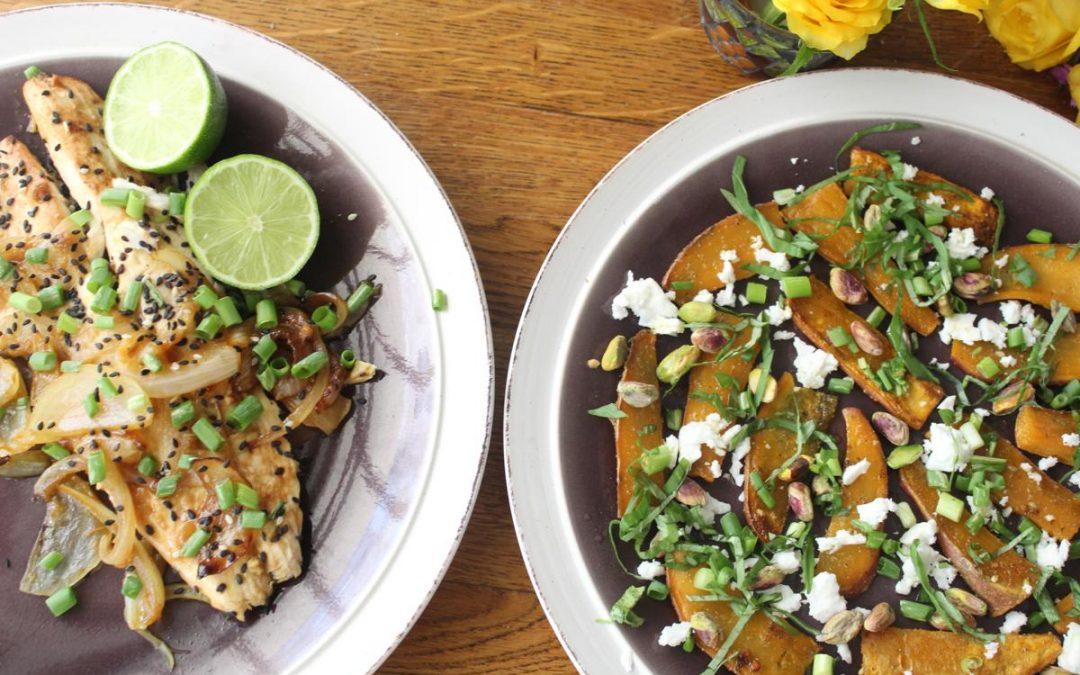 Yellow tail fish and black sesame sweet potato salad