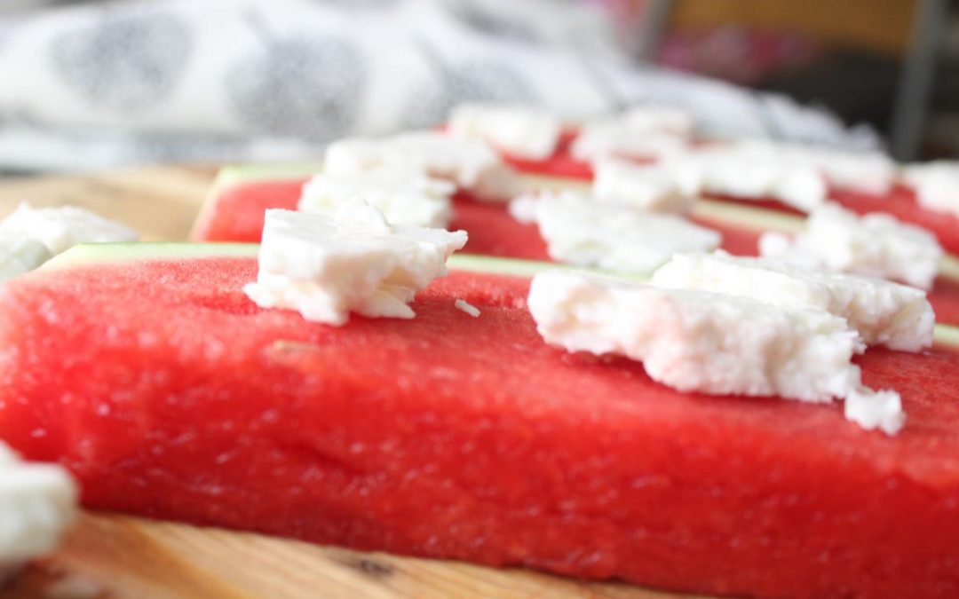 Watermelon and feta cheese snack